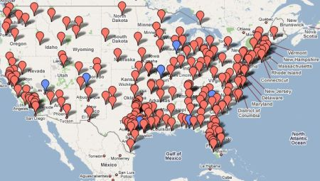 Google Map Tea Party Locations